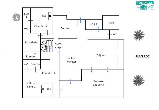 plan rdc de la location de vacances tropical home reunion