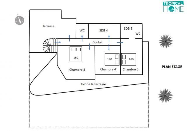 plan étage de la location de vacances maison Cocotiers des sables by tropical home