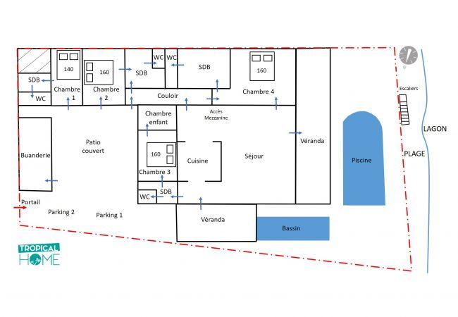 plan de votre location de villa de vacances par tropical home