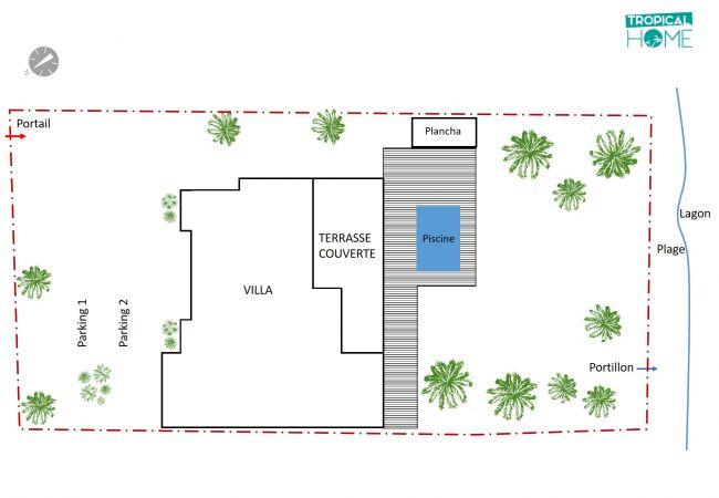 plan de votre location de villa de vacances réalisé par tropical home