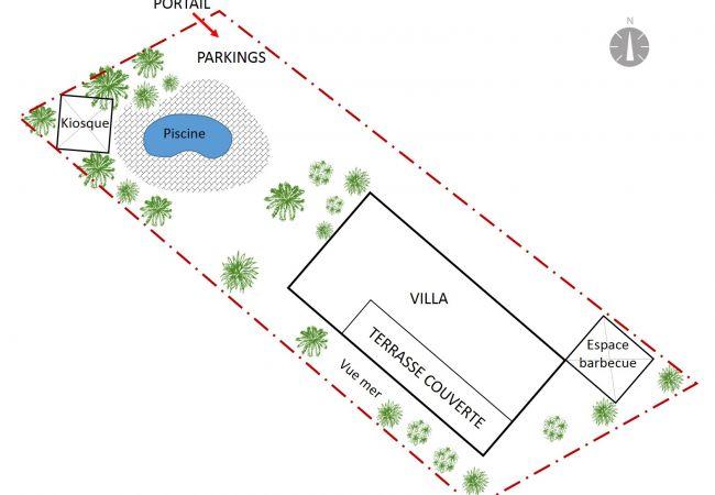 Plan de la location de vacances tropical home à la réunion 974