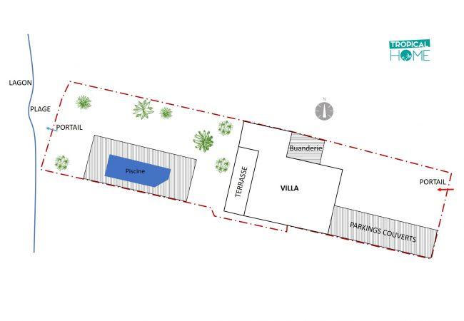 Plan tropical home de la villa les Aigrettes à la réunion