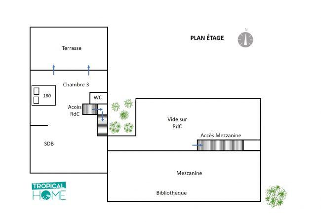 Plan étage tropical home de la villa Sérénité à la réunion