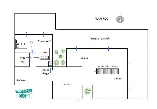 plan de Tropical Home pour votre location de vacances Réunion