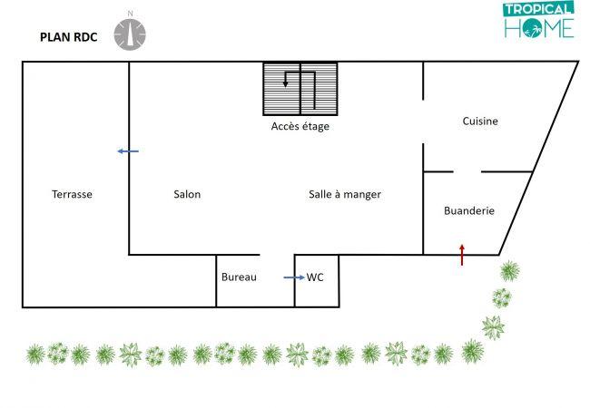 Plan du RDC de la villa des Palmiers