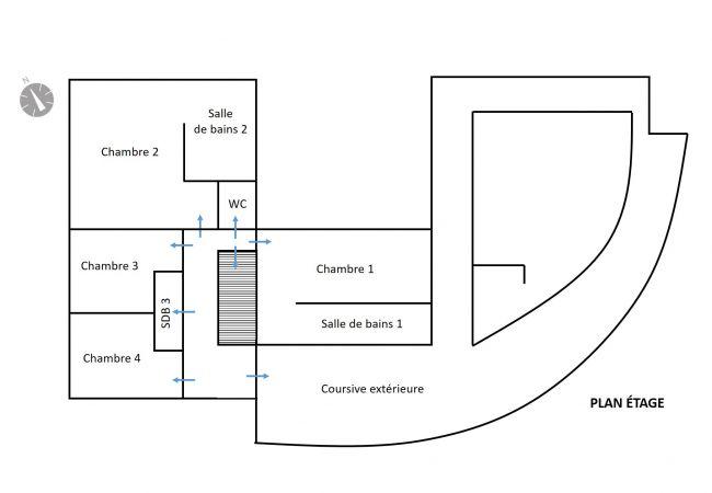 Plan étage tropical home de la villa Kerval à la réunion