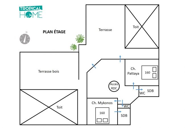 Plan étage tropical home villa Bella Vista la réunion