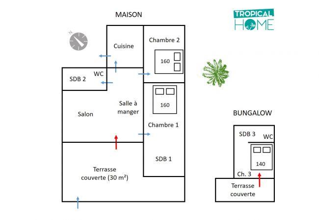 Plan de la villa Bambou avec Tropical Home Réunion