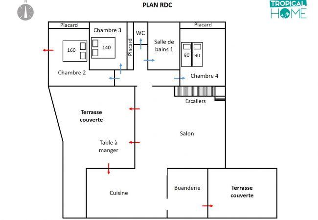 Plan de la villa avec 3 chambres au RDC