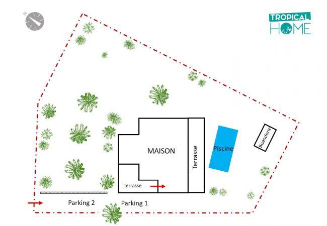 Le plan de la propriété et de son terrain de 1200 m²