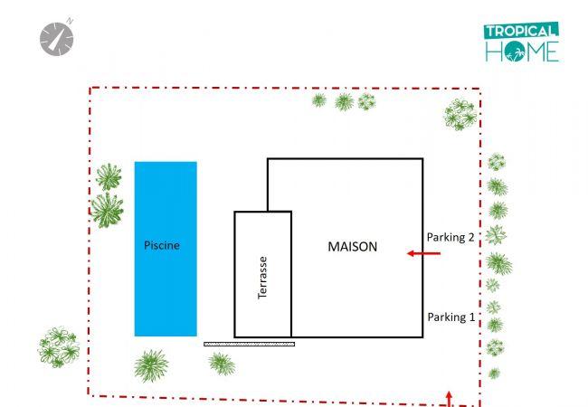 Plan de la villa à la saline les bains