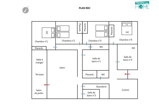 Le plan avec la disposition des pièces et chambres de cette villa